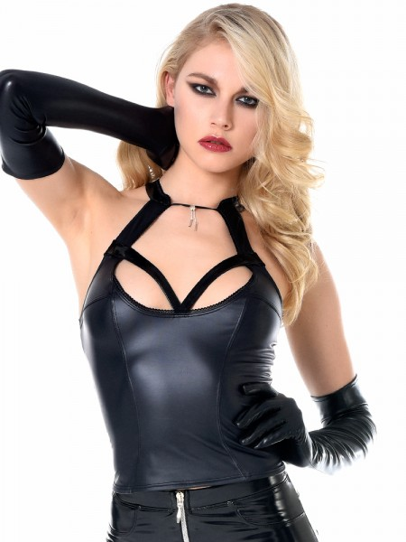 Patrice Catanzaro Grace: Wetlook-Top, schwarz