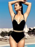 Anabel Arto: Badeanzug, schwarz/gold