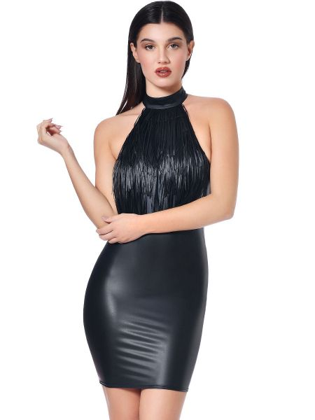 Patrice Catanzaro Laura: Wetlook-Minikleid, schwarz