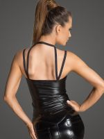 Noir Handmade: Wetlook-Top F203, schwarz