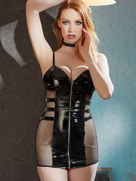 Lack-Netz-Minikleid, schwarz