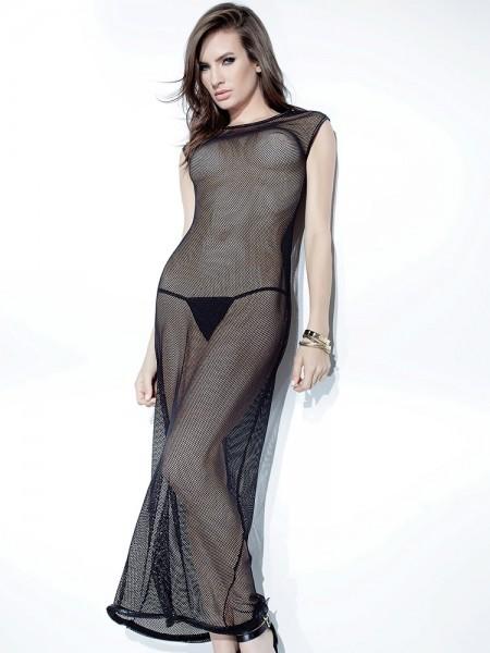 Coquette: Netz-Abendkleid, schwarz