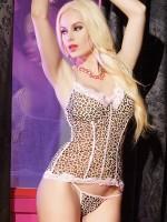 Coquette: Bustier und String, leopard/pink