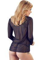 Netz-Langarm-Bluse, schwarz