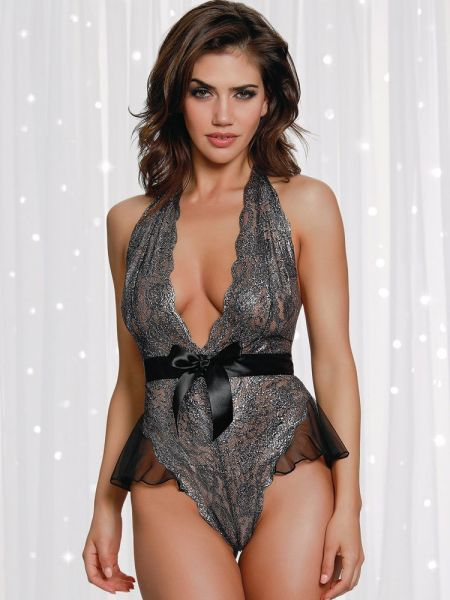 Dreamgirl Ouvert-Stringbody, schwarz/metallic