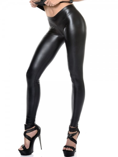 Patrice Catanzaro Vera: Wetlook-Leggings, schwarz