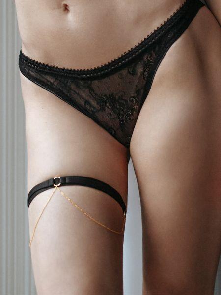 Petite Noir: Strumpfband mit Kettchen 2418, schwarz