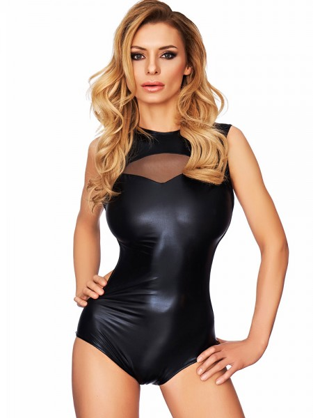 7-Heaven Wetlook-Body: Chia, schwarz