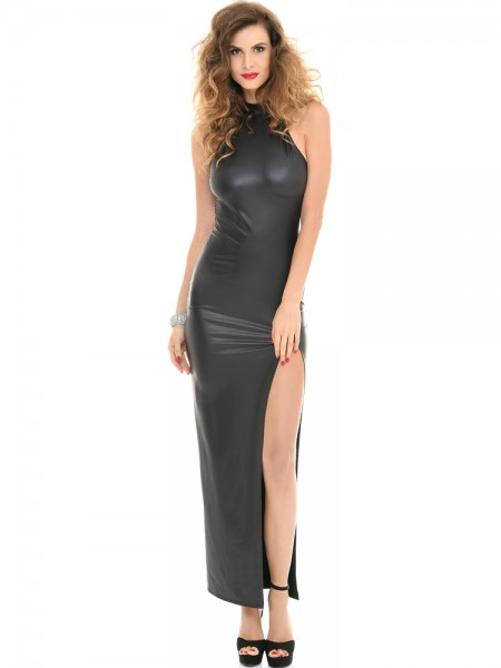 Patrice Catanzaro Poussy Cat: Wetlook-Abendkleid, schwarz