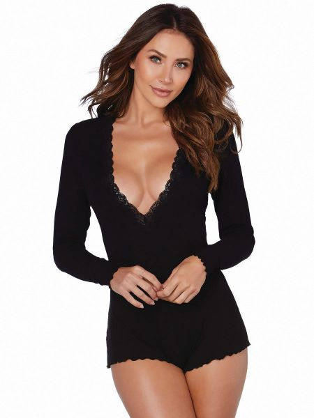 Dreamgirl Sleepwear-Body, schwarz