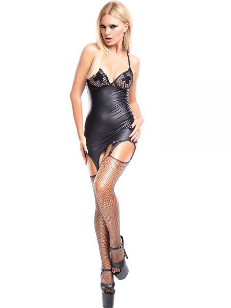 Demoniq Dark Desire Strapskleid und Strümpfe: Eris, schwarz