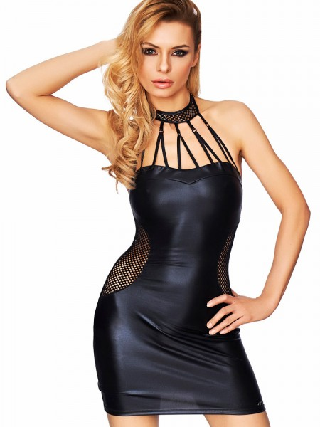 7-Heaven Wetlook-Minikleid: Marica, schwarz