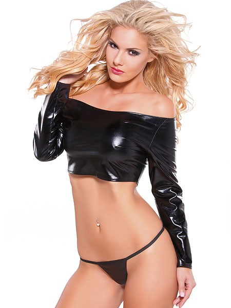 Kitten: Wetlook-Top-Set, schwarz