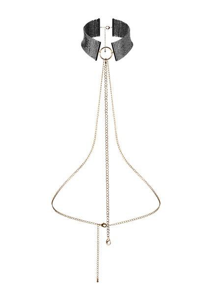 Bijoux Indiscrets Désir Métallique: Halsfessel mit Kette, schwarz/gold
