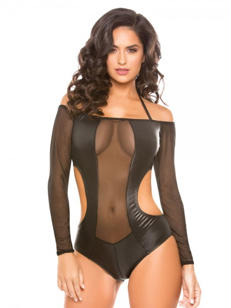 Allure: Wetlook-Netz-Body, schwarz