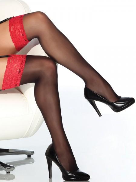 Coquette: Strapsstrümpfe, schwarz/rot