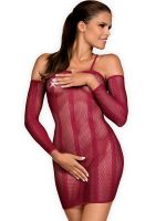 Obsessive Dressie: Netz-Minikleid, bordeaux