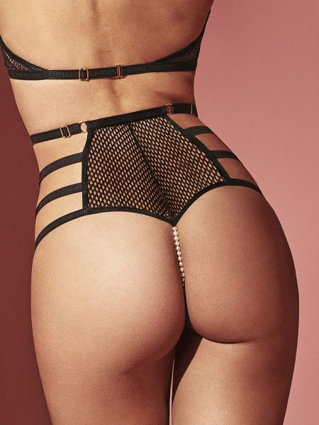 Bracli London: High-Waist-Perlenpanty, schwarz