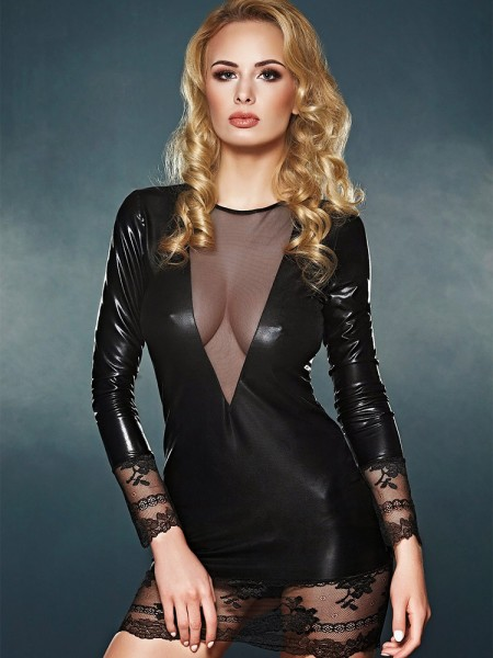7-Heaven Wetlook-Spitzen-Minikleid: Olivet, schwarz