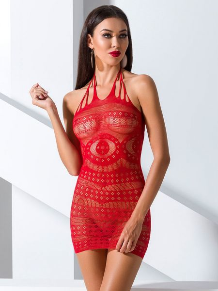 Passion BS063: Netz-Minikleid, rot