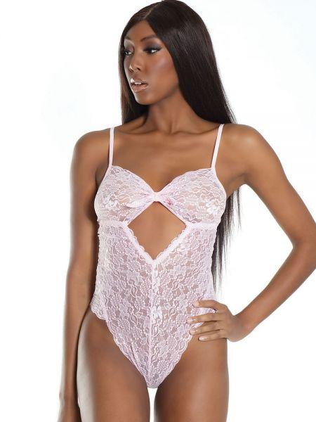 Coquette Elite: Spitzen-Body, pink