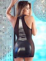Wetlook-Minikleid, schwarz/metallic
