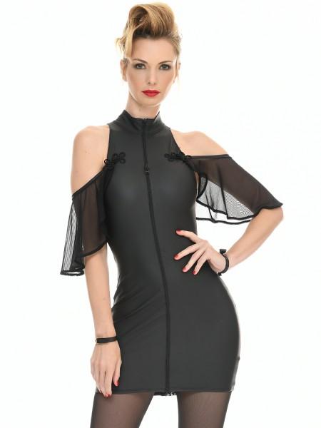 Patrice Catanzaro Florence: Wetlook-Netz-Minikleid, schwarz