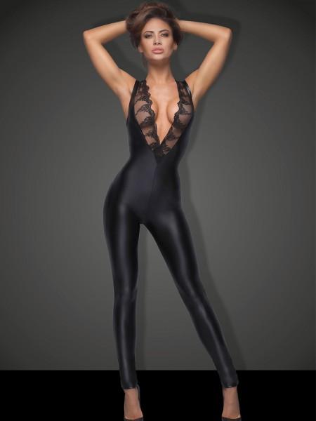 Noir Handmade: Wetlook-Spitzen-Catsuit F167, schwarz