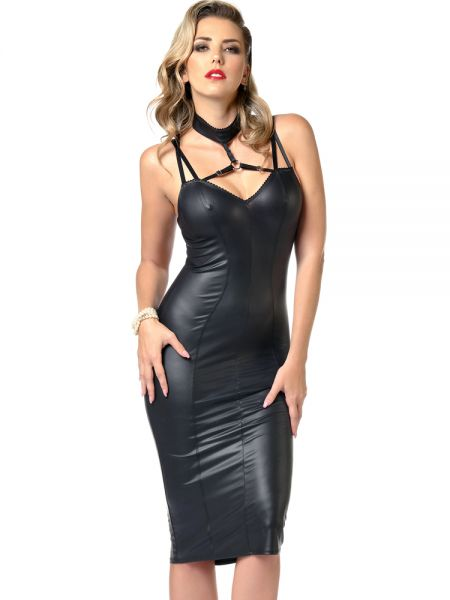 Patrice Catanzaro Petra: Wetlook-Minikleid, schwarz