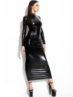 Demoniq Wetlook-Kleid: Dorothea, schwarz