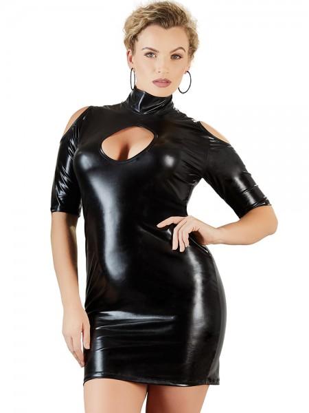 Wetlook-Kleid, schwarz